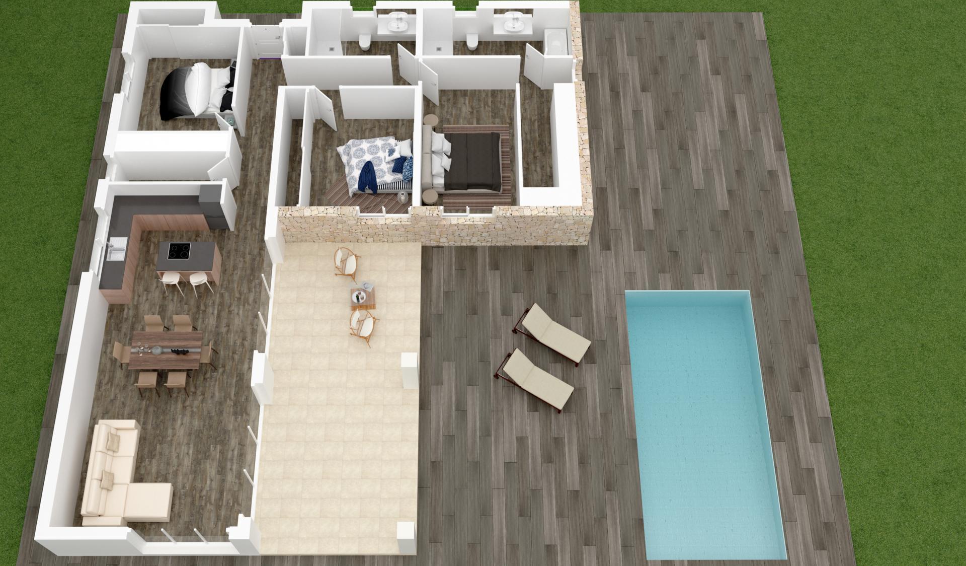 Nouvelles villas sur plan à vendre à Hondon de las Nieves, Alicante in Medvilla Spanje